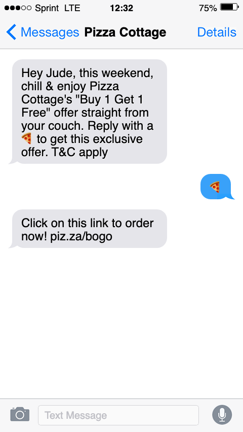 text message marketing sms sample