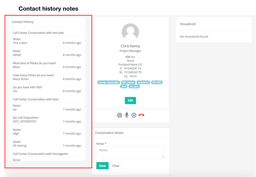 Contact history preview dialer