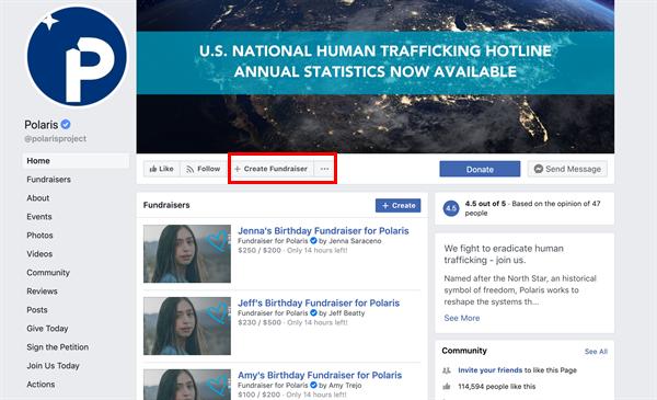 Nonprofit P2P fundraiser facebook