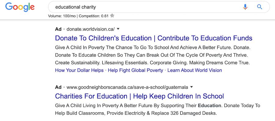 Nonprofit search ads