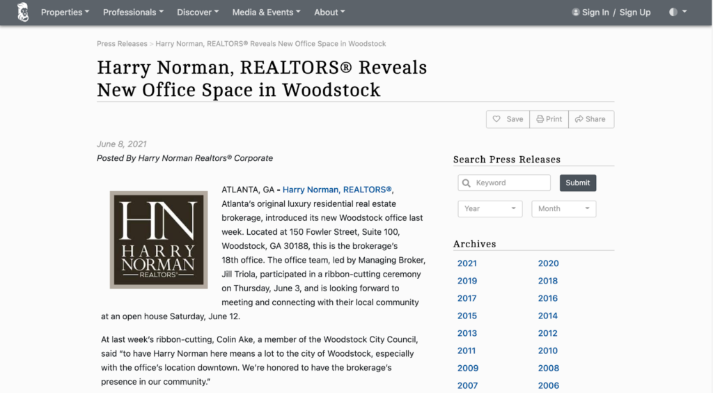 real estate marketing ideas press release example