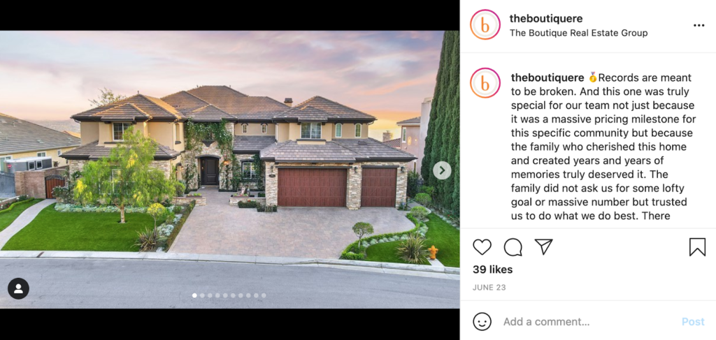 real estate social media business milestones example