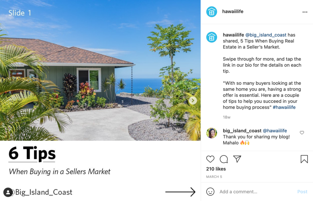 real estate social media buying and selling guidance example