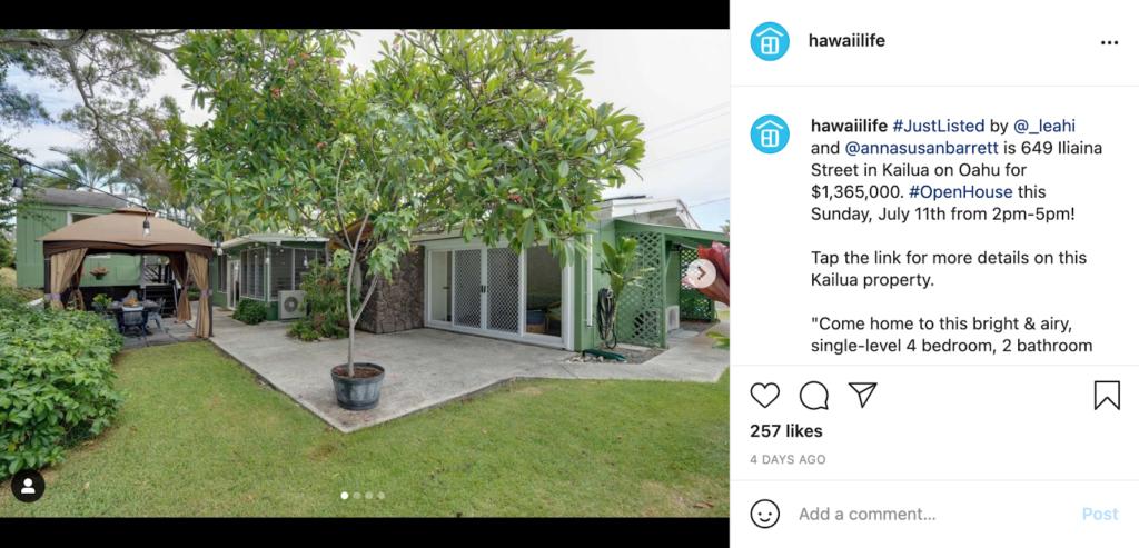 real estate social media instagram example