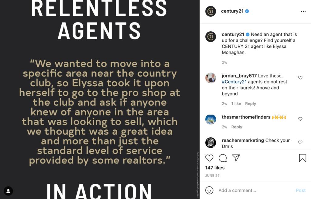 real estate social media testimonial example