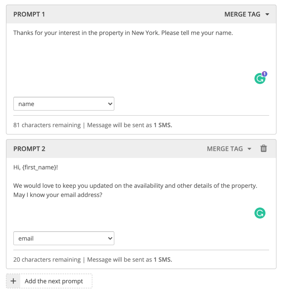 real estate software follow up prompts example