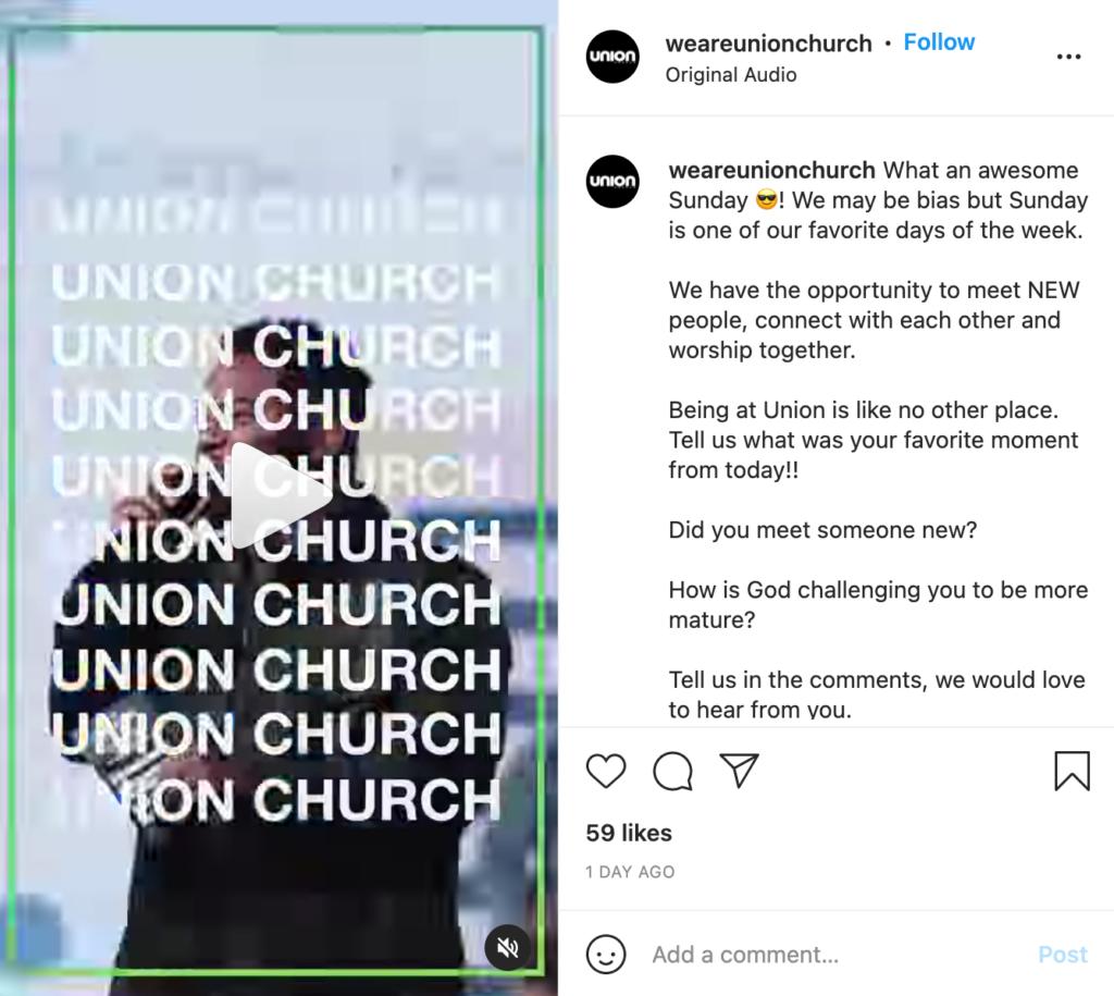 digital marketing for churches social media marketing example